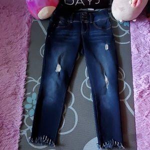 YMI wanna better butt crop jeans raw hem size 5